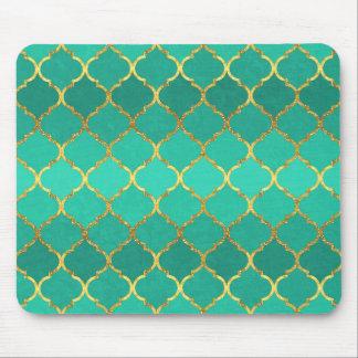 Elegant trendy gold faux glitter quatrefoil mouse pad
