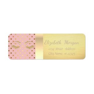 Elegant Trendy  Gold Glittery Lashes,Polka Dots Return Address Label