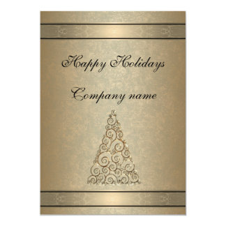 Elegant trendy gold holiday party corporate card