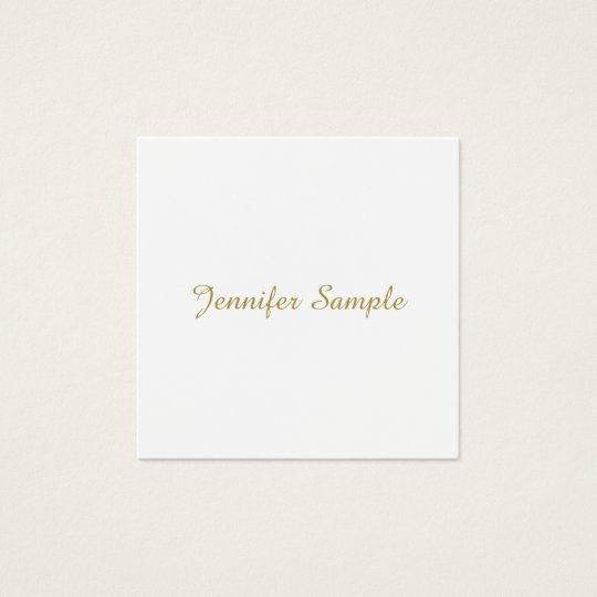 Elegant Trendy Gold Look Calligraphy Plain Modern Square Business Card