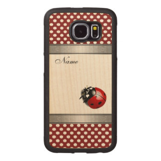 Elegant trendy  ladybug polka dots personalized wood phone case