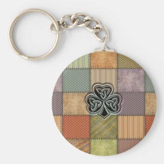 Elegant trendy lucky Irish shamrock patchwork Basic Round Button Key Ring