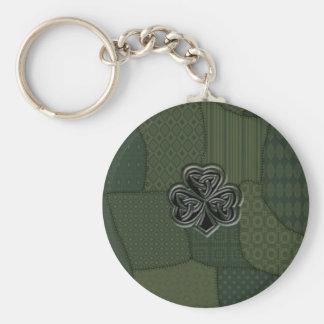 Elegant trendy lucky Irish shamrock patchwork Key Chain