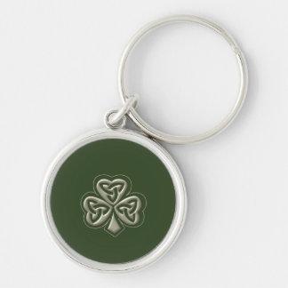Elegant trendy lucky Irish shamrock Silver-Colored Round Key Ring