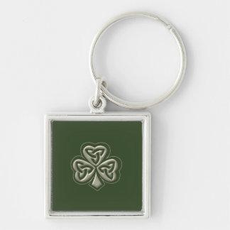 Elegant trendy lucky Irish shamrock Silver-Colored Square Key Ring