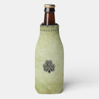 Elegant trendy lucky Irish shamrock vintage Bottle Cooler