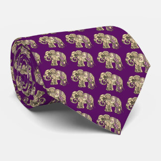 Elegant trendy vibrant ornamental elephants tie