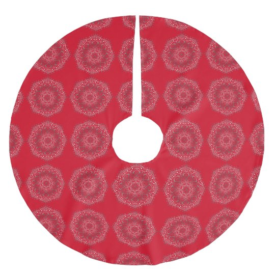 Elegant Tribal Mandala Pattern Design Red Silver Brushed Polyester Tree Skirt