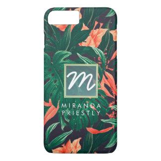 Elegant Tropical Floral Modern Gold Frame Monogram iPhone 8 Plus/7 Plus Case