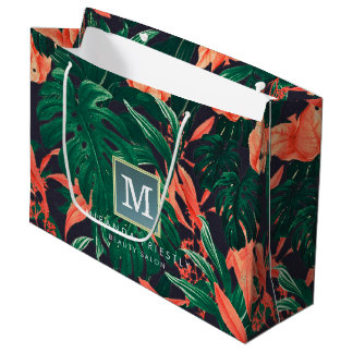 Elegant Tropical Floral Modern Gold Frame Monogram Large Gift Bag