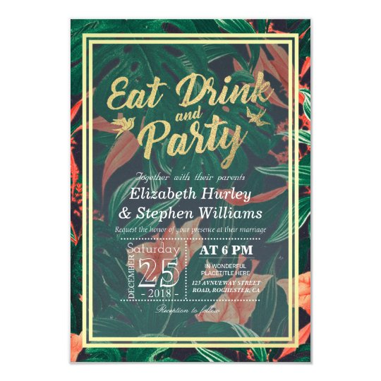 Elegant Tropical Flower EAT Drink and Let's Party Card