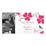 Elegant tropical flowers and bird save the date photo card