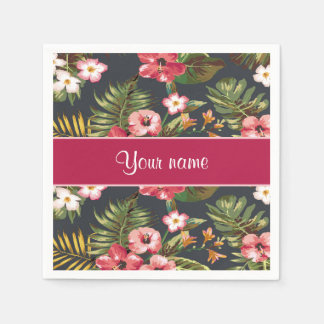 Elegant Tropical Hibiscus Flowers and Leaves Disposable Serviettes