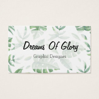 Elegant Tropical Leaf Print on White Business Card