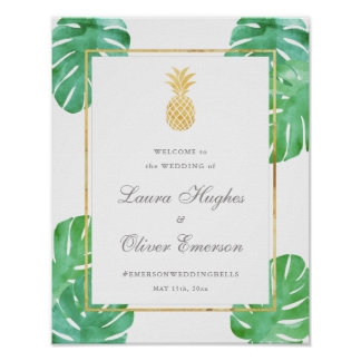 Elegant Tropical Pineapple Wedding Welcome Sign Poster