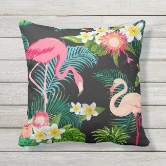 Elegant Tropical Pink Flamingos Throw Pillow