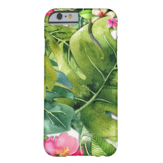 Elegant Tropics Green Leaves Floral Watercolor Barely There iPhone 6 Case