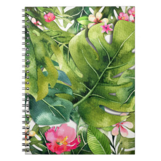 Elegant Tropics Green Leaves Floral Watercolor Notebook