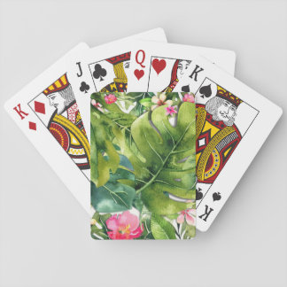Elegant Tropics Green Leaves Floral Watercolor Poker Deck