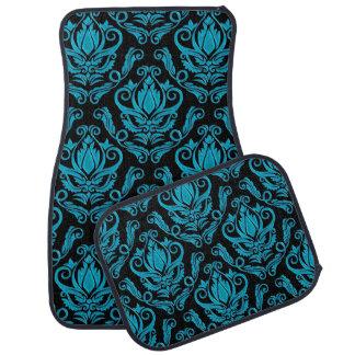 Elegant Turquoise and Black Damask Print Car Mat