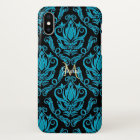 Elegant Turquoise and Black Damask Wallet iPhone X Case