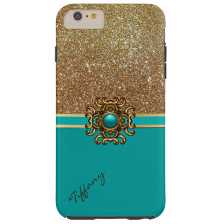 Elegant Turquoise and Gold iPhone 6 Plus case