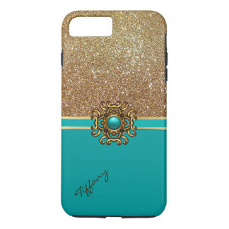 Elegant Turquoise and Gold iPhone 7 Plus case