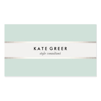 Elegant Turquoise and Silver Striped Professional Pack Of Standard Business Cards