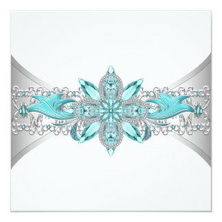 Elegant Turquoise Blue and Silver Wedding 13 Cm X 13 Cm Square Invitation Card