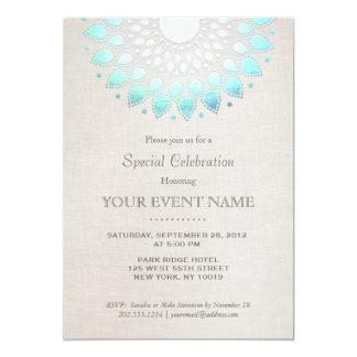 Elegant Turquoise Blue Beige Linen Look 13 Cm X 18 Cm Invitation Card