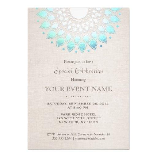 Elegant Turquoise Blue Beige Linen Look Custom Invitations