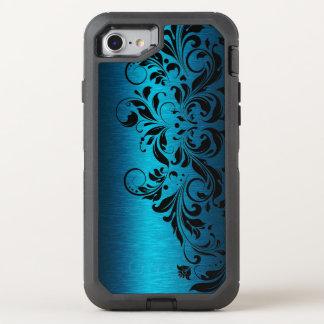 Elegant Turquoise Blue & Black Floral Lace OtterBox Defender iPhone 8/7 Case