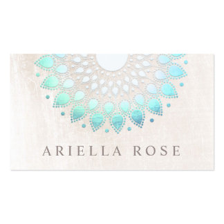 Elegant Turquoise Blue Floral Lotus White Marble Pack Of Standard Business Cards