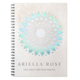 Elegant Turquoise Blue Floral Lotus White Marble Spiral Note Books