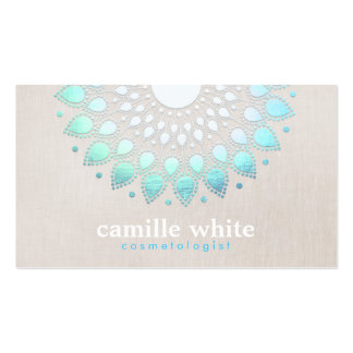 Elegant Turquoise Blue Lotus Logo Pack Of Standard Business Cards