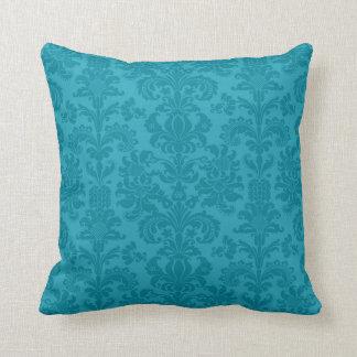 Elegant Turquoise Blue Vintage Damasks Throw Pillow
