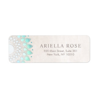 Elegant Turquoise Floral Lotus White Marble Return Address Label