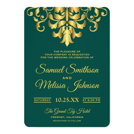 Elegant Turquoise Gold Damask Wedding Invitation