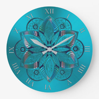 Elegant Turquoise Metallic Mandala Clock