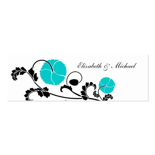 Elegant Turquoise Poppy Gift Registry Cards Business Cards