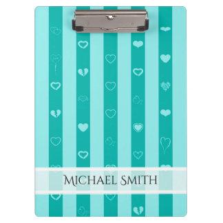 Elegant Turquoise Stripes Modern Heart Pattern Clipboard