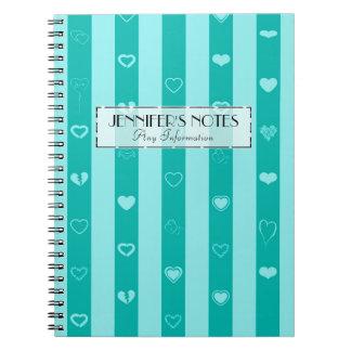 Elegant Turquoise Stripes Modern Heart Pattern Notebook