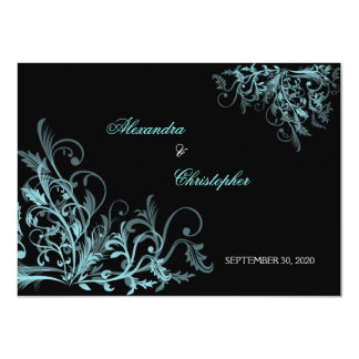 "Elegant Turquoise Swirls Save the Date Announcemen 4.5"" X 6.25"" Invitation Card"