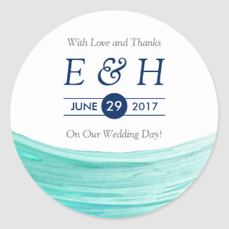 Elegant Turquoise Tides Beach Wedding Favour Round Sticker