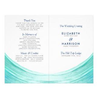 Elegant Turquoise Tides Beach Wedding Program Flyer