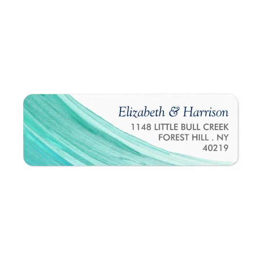 Elegant Turquoise Tides Beach Wedding Return Address Label