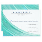 Elegant Turquoise Tides Beach Wedding RSVP Card