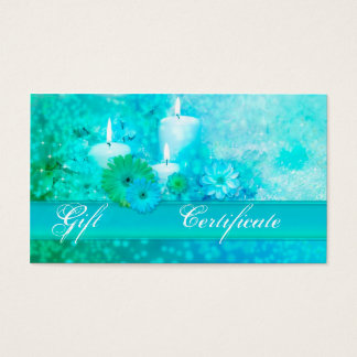Elegant Turquoise Wellness Gift Voucher Template Business Card