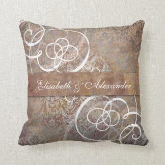 Elegant Tuscan Damask Custom Newlywed Wedding Gift Throw Pillow