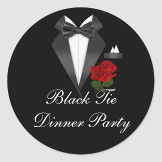Elegant Tux & Rose Black Tie Dinner Party Sticker